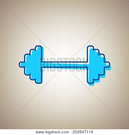 Dumbbell weights sign. Vector. Sky blue icon with defected blue contour on beige background.