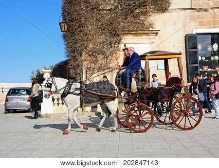 MDINA, MALTA - MARCH 29, 2017 - Horse and carriage in the city centre Mdina Malta Europe, March 29, 2017.