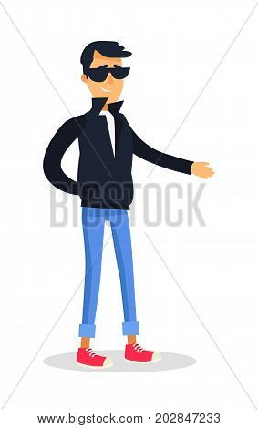 Cartoon isolated male person dressed in black jacket and glasses with one hand in pocket reaches for. Flat vector full length portrait of young unfair man with sly smile on face in cartoon style