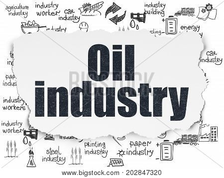 Industry concept: Painted black text Oil Industry on Torn Paper background with  Hand Drawn Industry Icons