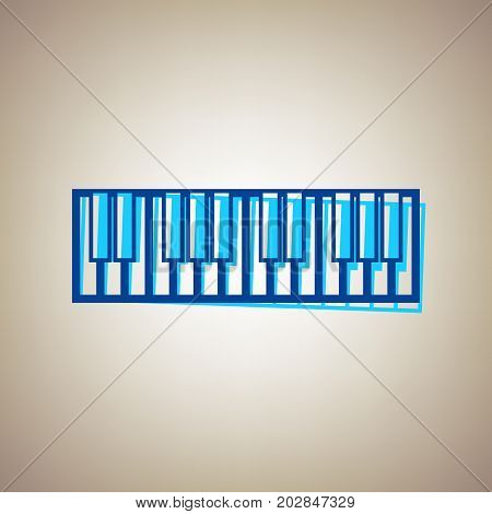 Piano Keyboard sign. Vector. Sky blue icon with defected blue contour on beige background.
