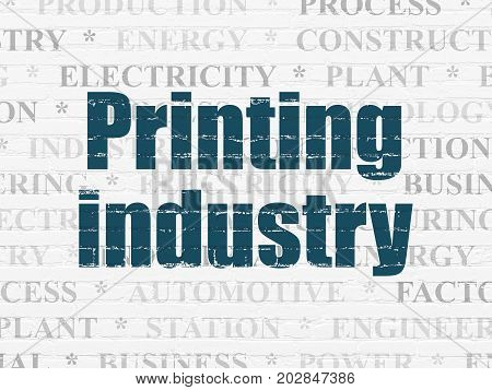 Industry concept: Painted blue text Printing Industry on White Brick wall background with  Tag Cloud