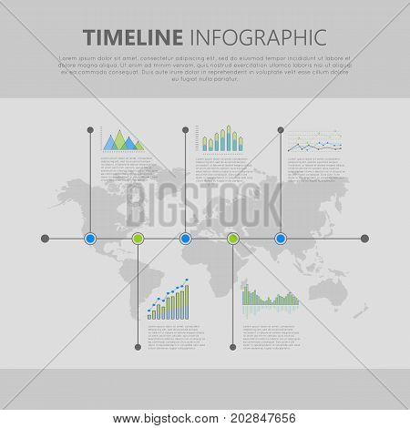 Graphic infographics symbols on timeline with world map on background. Global statistic information presentation vector. Graphics and column diagrams for business, politics or social concepts