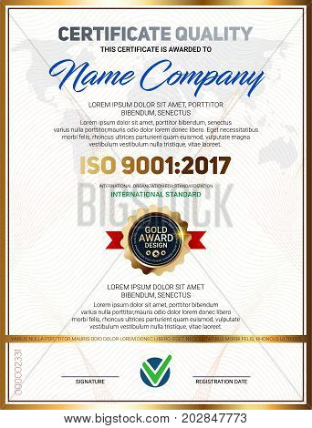 Vector certificate quality template with luxury line pattern and gold award emblem ISO 9001 certified Vector illustration