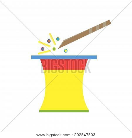 Magic hat with wand vector illustration icon