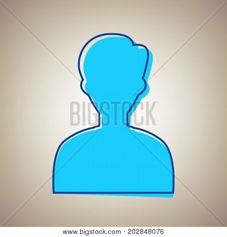 User avatar illustration. Anonymous sign. Vector. Sky blue icon with defected blue contour on beige background.