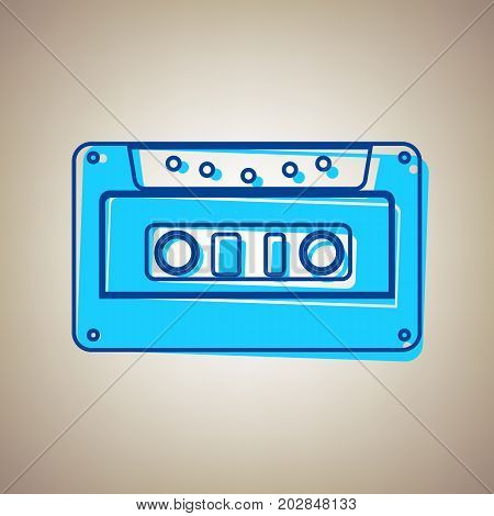Cassette icon, audio tape sign. Vector. Sky blue icon with defected blue contour on beige background.