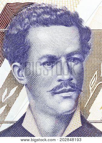 Juan Montalvo portrait from Ecuadorian money - Sucres