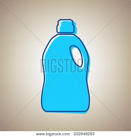 Plastic bottle for cleaning. Vector. Sky blue icon with defected blue contour on beige background.