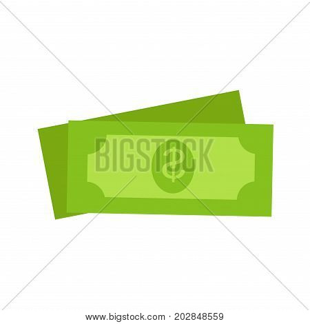 Two green dollars United States money icon set on white background. Vector illustration of drawings dollar bills. Sign of buck. Concept in cartoon style for infographics, websites, mobile app.