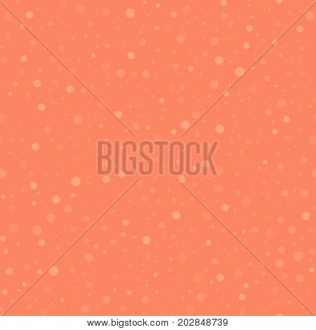 Light Polka Dots Seamless Pattern On Coral Background. Sublime Classic Light Polka Dots Textile Patt
