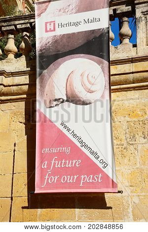 MDINA, MALTA - MARCH 29, 2017 - National museum of natural history sign Mdina Malta Europe, March 29, 2017.