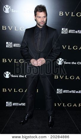 LOS ANGELES - JAN 13:  Ricky Martin arrives to Bvlgari Hosts Funraiser for Save The Children  on January 13, 2011 in Los Angeles, CA