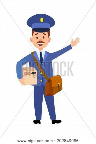Postman cartoon character in blue uniform delivering parcel flat vector illustration isolated on white background. Mailman with mailbag holding cardboard box. Smiling mustached postal courier icon