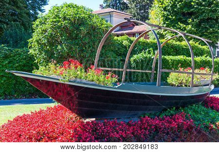 Italy Como Lake Cernobbio a traditional boat in the lakefront
