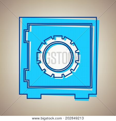 Safe sign illustration, crib, vault, lock box. Vector. Sky blue icon with defected blue contour on beige background.