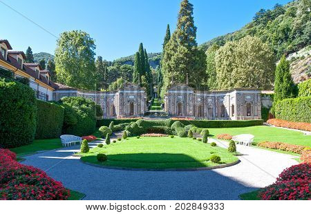 Cernobbio Italy - August 30 2010: The garden of Villa D'Este