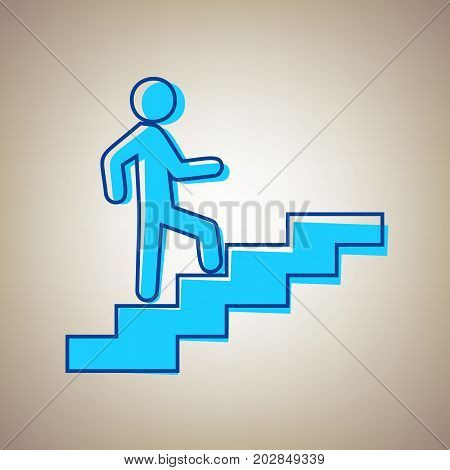Man on Stairs going up. Vector. Sky blue icon with defected blue contour on beige background.