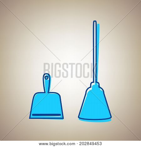 Dustpan vector sign. Scoop for cleaning garbage housework dustpan equipment. Vector. Sky blue icon with defected blue contour on beige background.