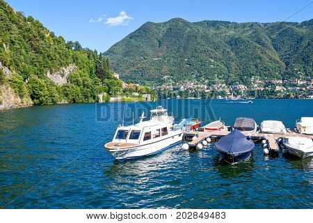 Cernobbio Italy - August 30 2010: Boats in the lake haybor