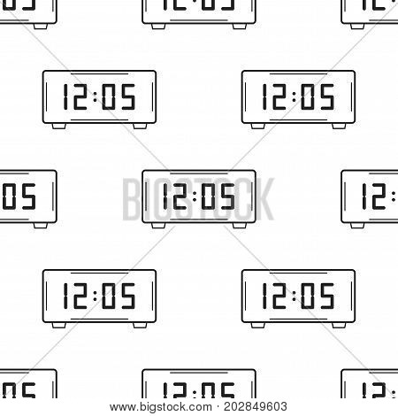 Electronic watch. Black and white seamless pattern for coloring books, pages. Vector illustration.