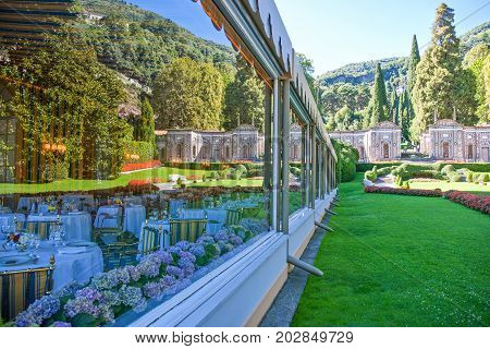 Cernobbio Italy - August 30 2010: The garden and the restaurant of Villa D'Este