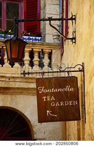 MDINA, MALTA - MARCH 29, 2017 - Fontanella Tea Garden sign on the side of a wall Mdina Malta Europe, March 29, 2017.