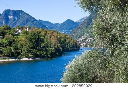 Italy Como Lake view of the lake and Comacina island from Argegno