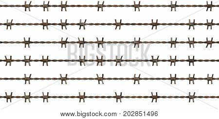 Barbed Wire Fence Seamless Texture. Isolated Metal Guard Line Pattern.