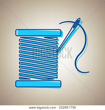 Thread with needle sign illustration. Vector. Sky blue icon with defected blue contour on beige background.