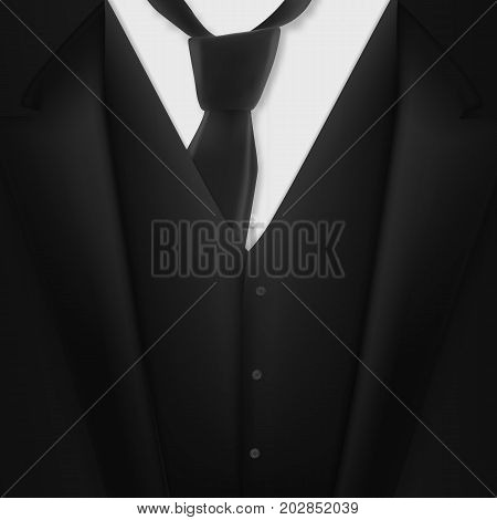Illustration of Vector Realistic Black Suit. Photorealistic 3D Mens Elegant Tuxedo Suit with Neck Tie