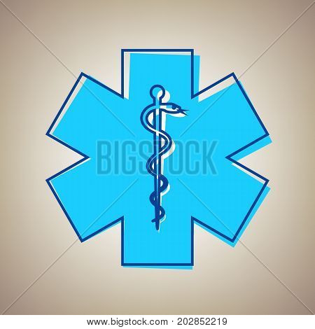 Medical symbol of the Emergency or Star of Life. Vector. Sky blue icon with defected blue contour on beige background.