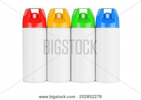 Row of Four Spray Cans on White Background