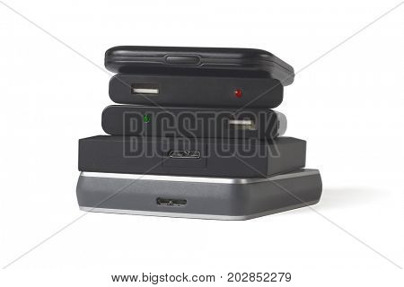 Stack of Computer Hard Disks on White Background