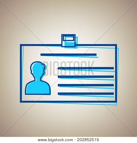 Identification card sign. Vector. Sky blue icon with defected blue contour on beige background.