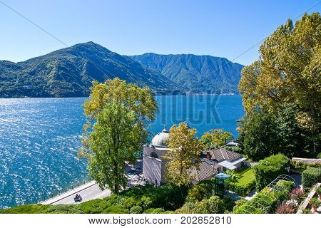 Tremezzo Italy - August 30 2010: View of the Como lake from the Villa Carlotta garden