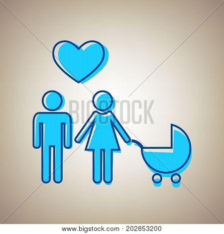 Family symbol with pram and heart. Husband and wife are kept each other's hands. Love. Vector. Sky blue icon with defected blue contour on beige background.