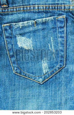 Pocket on jeans denim fabric fashion background