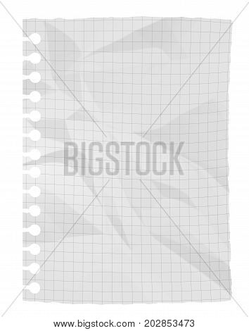 Crumpled white paper sheet isolated on white background (3D illustration)