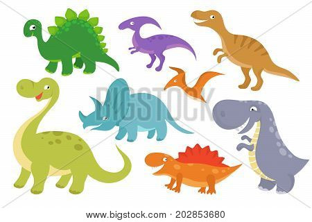 Cute cartoon dinosaurs vector clip art. Funny dino chatacters for baby collection. Funny character dino cartoon illustration illustration