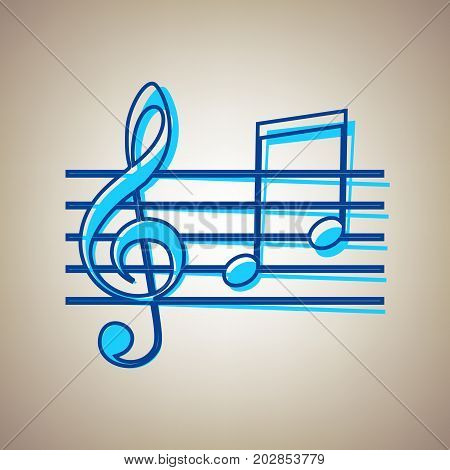 Music violin clef sign. G-clef and notes G, H. Vector. Sky blue icon with defected blue contour on beige background.