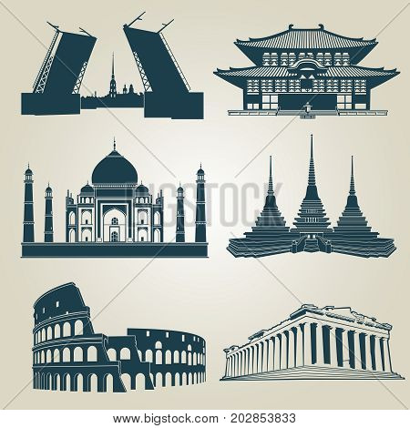 Vector silhouettes of world tourist attractions. Famous landmarks and destination symbols pantheon and taj mahal, coliseum and famous landmark illustration