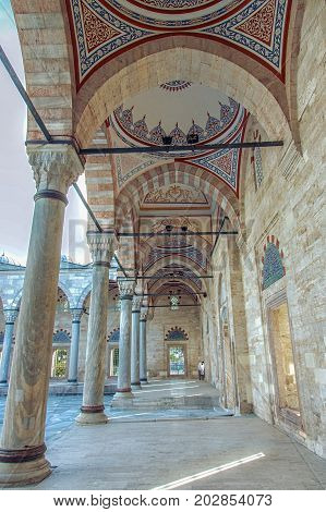 Cortyard of Yavuz Selim Mosque Selim I Mosque . The Yavuz Selim Mosque is the second oldest existent imperial mosque in Istanbul, it was built in 1520-1528