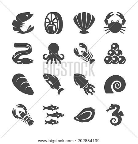 Sea food black silhouette vector icons. Sea food fish, seafood lobster and shrimp illustration