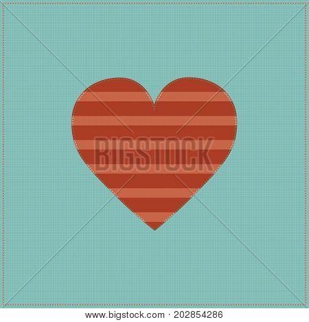 Vintage stitched heart / colorful illustration of vintage stitched heart background