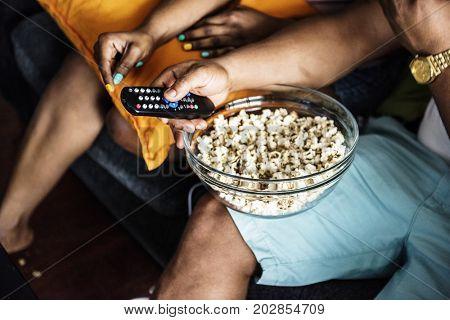Closeup of popcorn bowl on a lap