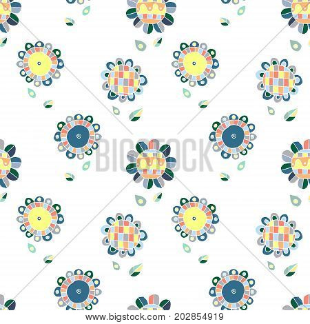Seamless Vector Hand Drawn Doodle Childlike Floral Pattern. Background With Childish Flowers, Leaves