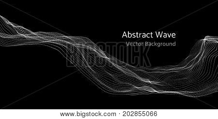 Mesh network 3d abstract wave and particles vector background. Network mesh technology wave digital illustration