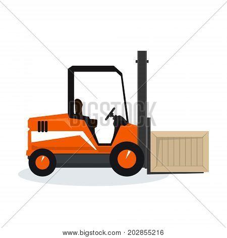 Orange Forklift Truck Isolated on White Background Vehicle Forklift Picks up a Box Vector Illustration