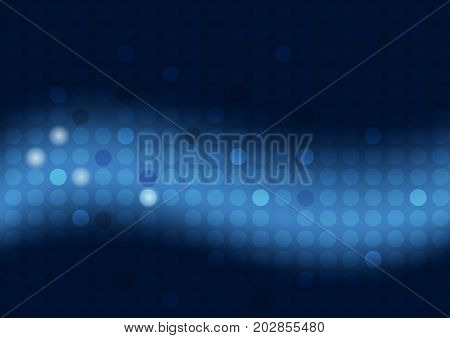 Abstract blue background with circles and wide blurry light stripe - vector